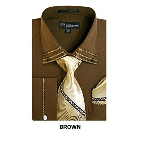 Mens Brown Fashion Shirt with Matching Tie, Hankie & French Cuff Set