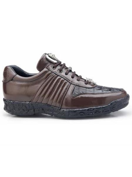 Belvedere Authentic Genuine Skin Italian Exotic Skin Brand Men's Brown Genuine Crocodile and Soft Calf Leather lining Shoe