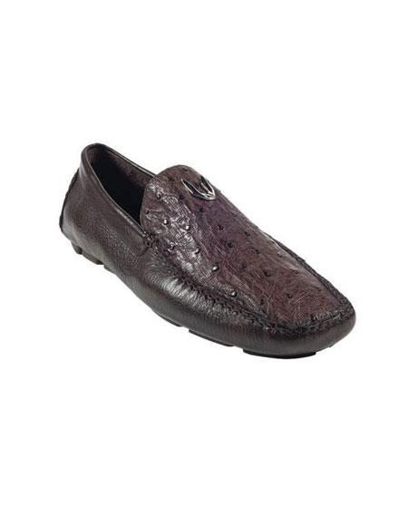 Mens Brown Genuine Full Quill Ostrich Drivers Vestigium Driving Shoes slip on Stylish Dress Loafer for men