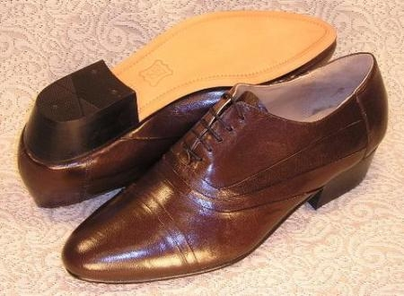 SKU# RBP826 Mens Brown Shoes Stacked High Heel Oxford  cuban heel # 24485. $500