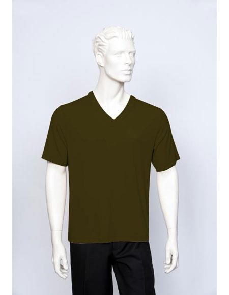 Tulliano Poly/Spandex S/SL Ribbed Crew Neck Men's V-Neck Ribbed Short Sleeve Brown
