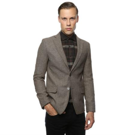 Mens Skinny Cut Tweed Windowpane Pattern Brown and Grey Herringbone Tweed Blazer