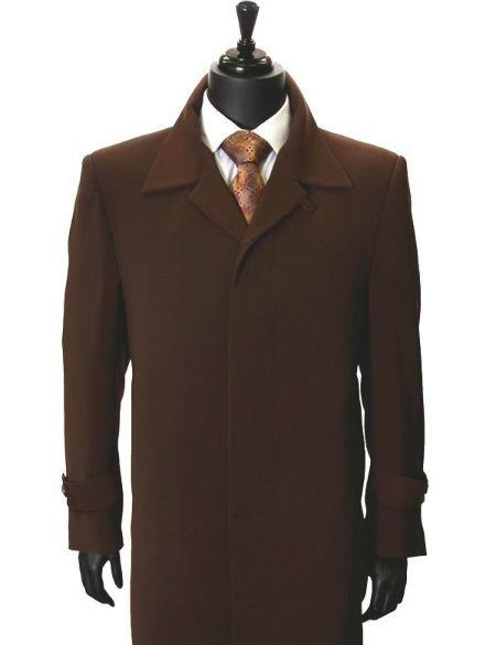 Men's Dress Coat All Weather Microfiber Gaberdine Trendy Classic Trench Top Coat Brown Maxi Full Length 45 inch long