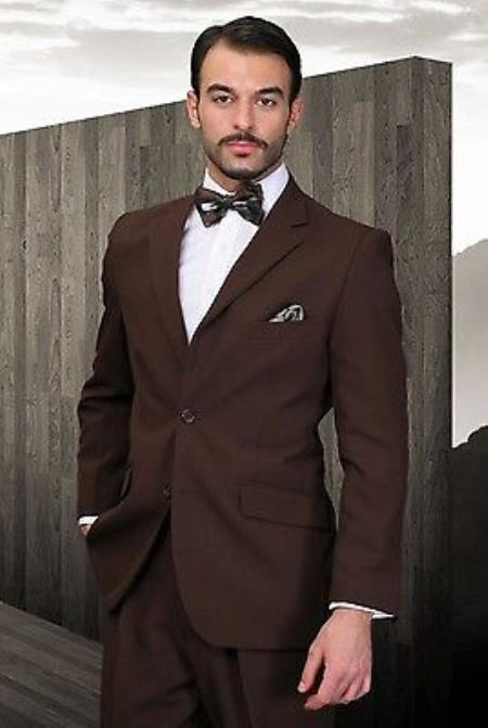 mens pleated pants athletic cut brown poly~rayon fabric modern cut 2 button suit