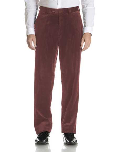 Buy SM2285 Men's Modern Fit Brown Velvet Flat Front Pant