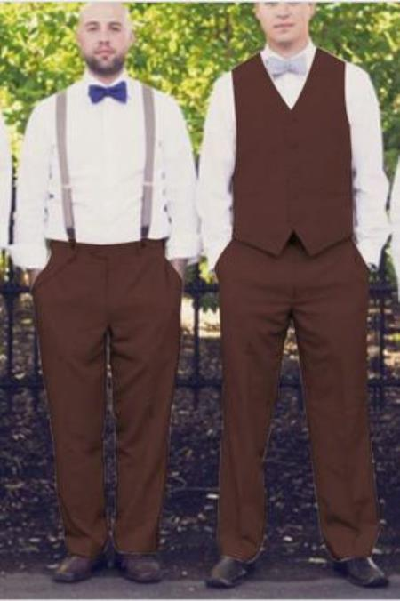 Dark Brown Mens Shirt & Tie or Bow tie Set Package & Any Color Matching Dress Tuxedo Wedding Vest & Pants