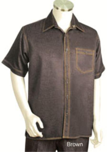 Mens Lustrous Exterior Single Breasted Short Sleeved Two Piece Walking Outfit