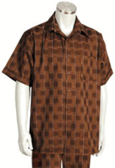 Mens Short Sleeve 2 piece Casual Walking Suit Brown Checker