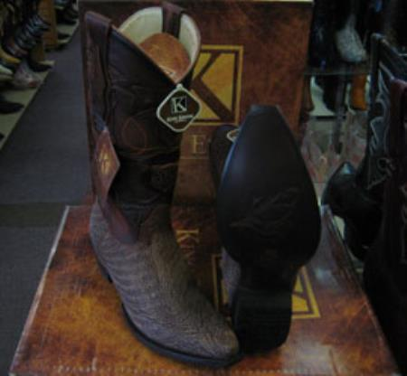 Mens King Exotic Cowboy Style By los altos botas For Sale Snip Toe Genuine Shark Western Cowboy Brown Boot