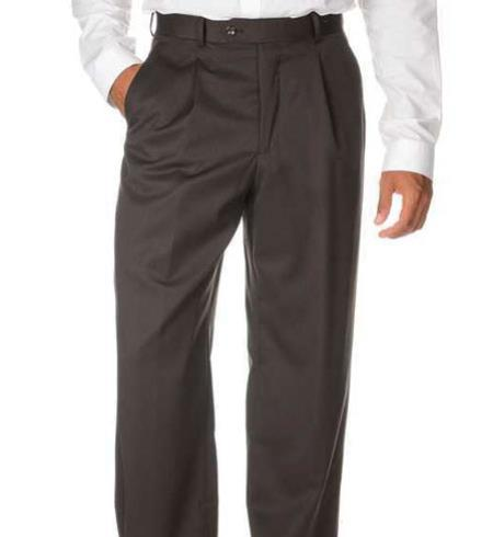 Men's Brown Wool Gabardine Slack unhemmed bottom