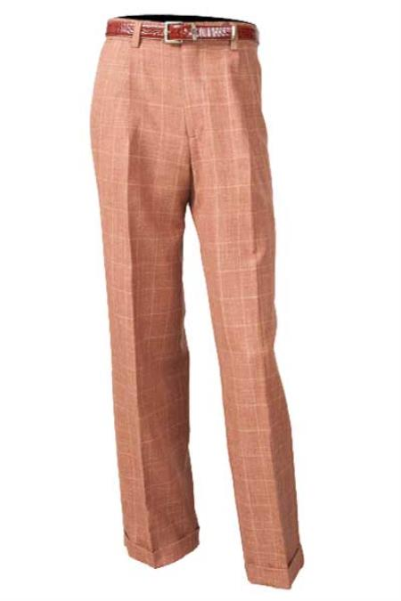 Mens Brown Flat Front 100% Wool Pleated Pant With Flap Back Pockets unhemmed unfinished bottom