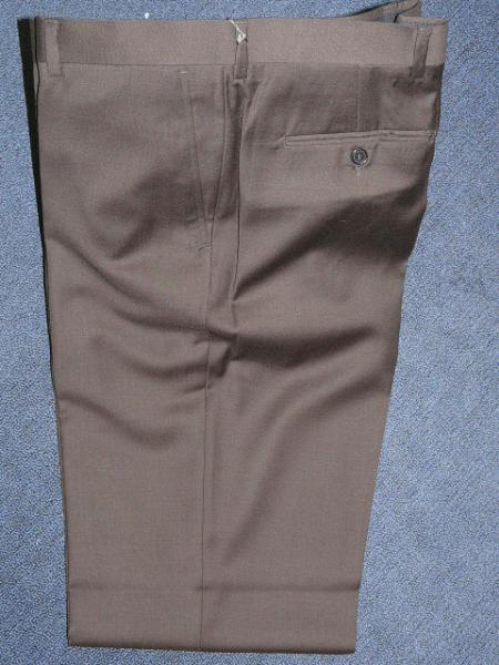 Brown 100% WOOL , SUPER 140'S Solid ~ plain FRONT PANTS