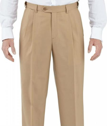Winthrop & Chruch Mens 100% Wool Pleated Dress Pants Camel unhemmed unfinished bottom