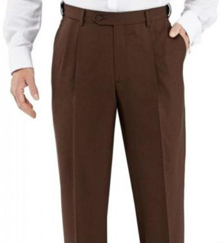 Winthrop & Chruch Mens 100% Wool Pleated Dress Pants Brown unhemmed unfinished bottom