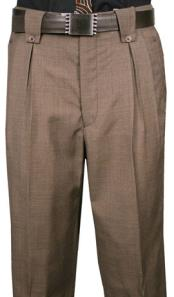 Mens Veronesi Flap Style Back Pocket houndstooth checkered Fine Wool Wide Leg Dress Pants Brown