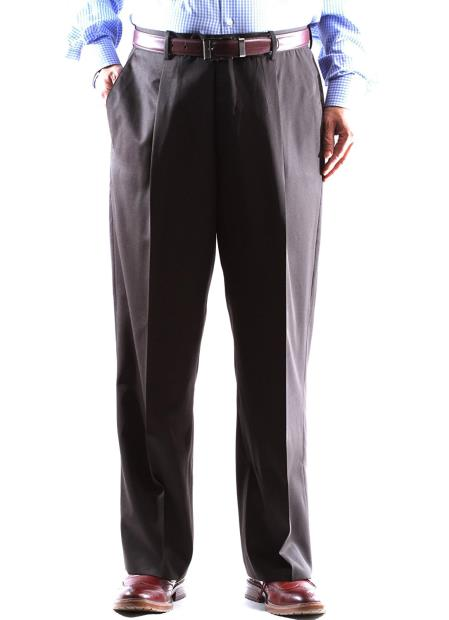 Regular Size & Big and Tall Brown 100% Wool Dress Pants Gabardine Fabric Pleated Pants unhemmed unfinished bottom