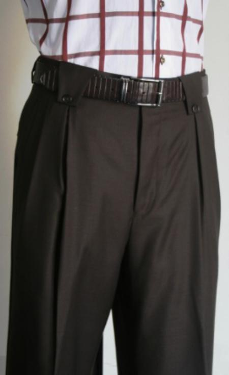 Men's Super 150's 100% Wool Wide Leg Dress Pants / Slacks Brown unhemmed unfinished bottom