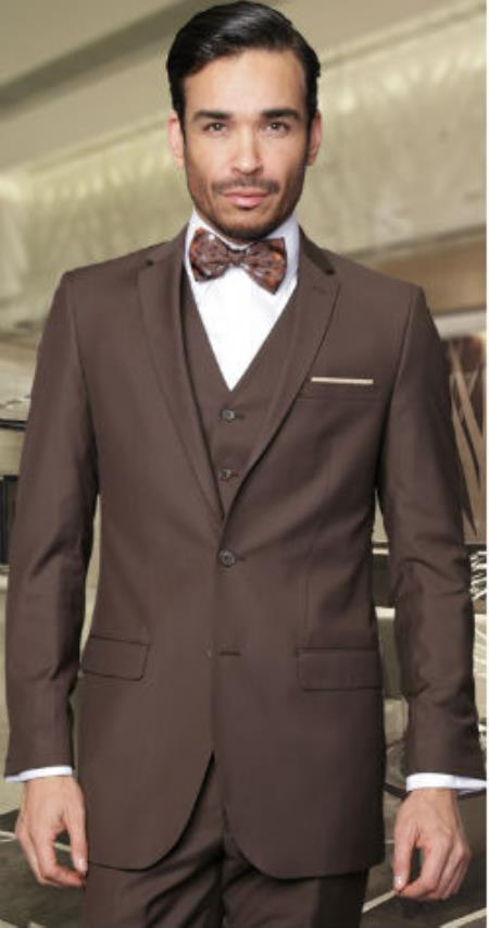 mens 2-button vested 3 pieces 3pc slim fitted cut skinny lapel wool suit brown