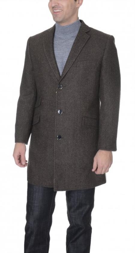 Mens Dress Coat Brown Herringbone Wool Blend 3/4 Overcoat ~ Topcoat Tweed houndstooth checkered Pattern with Ticket Pocket