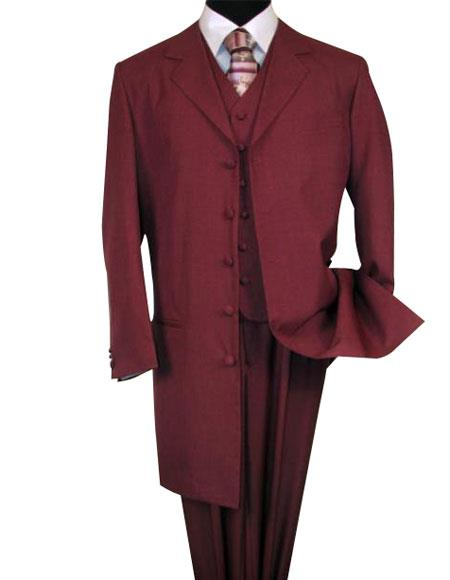 Burgundy ~Maroon Zoot Suit - Pimp Suit - Zuit Suit  ~ Wine Color FASHION ZOOT 3 ~ Three Piece Suit 38'INCH LONG JACKET WITH COVERED BUTTON