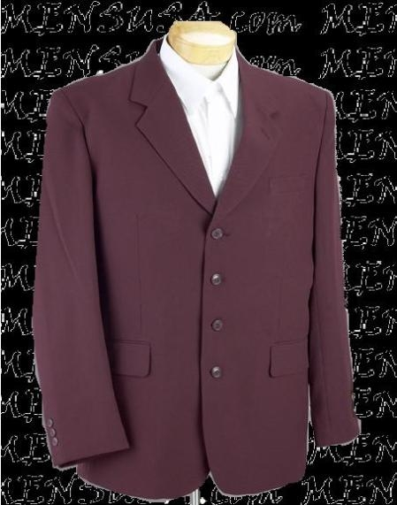 SKU# ASP98 Mens Burgundy ~ Maroon ~ Wine Color 4 Button  Fashion Color Suit $139