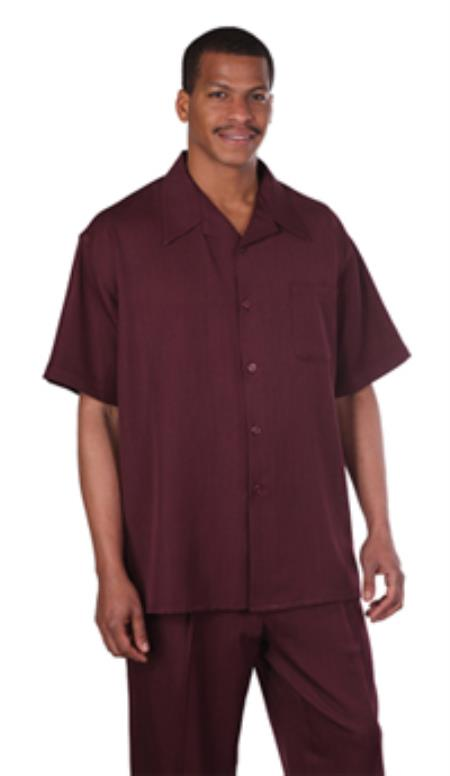 Leisure Casual Two Piece Mens Walking Outfit For Sale Pant Sets Suit Shirt & Pleated Pants Solid Burgundy ~ Wine ~ Maroon Color Short Sleeve Casual Sets