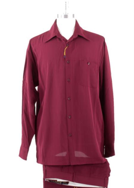 Spread Collar Burgundy Casual