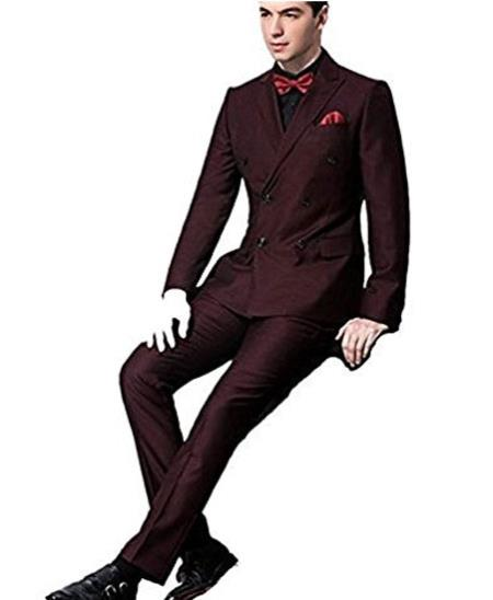 Mens Double Breasted Side Vent Burgundy ~ Wine ~ Maroon Suit  Peaked Lapel Slim Fit Groom Tuxedos Suit
