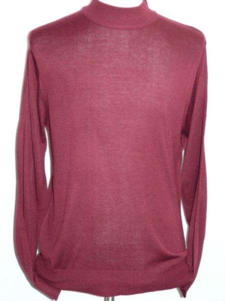 Buy SS-113 Men's INSERCH Burgundy ~ Wine ~ Maroon Color Mock Neck Pullover Knit Sweater High Collar Casual Dressy