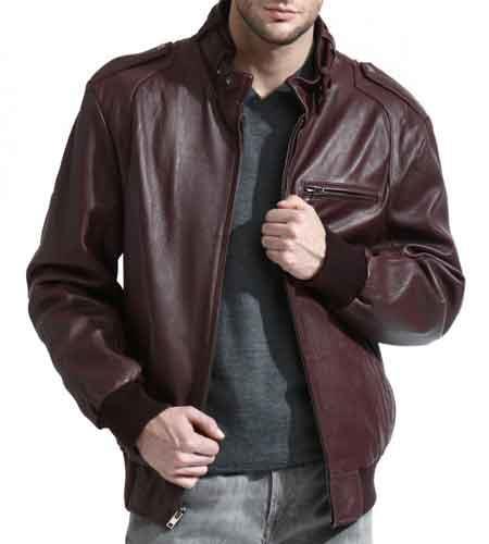 Mens Full Sleeve Moto Collar 100% Genuine Lambskin Leather Burgundy ~ Wine ~ Maroon Color Bomber Jacket