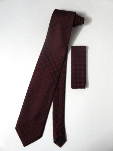Neck Tie Set Burgundy ~ Maroon ~ Wine Color Checkered Design