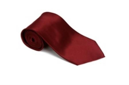 Burgundy ~ Maroon ~ Wine Color 100% Silk Solid Necktie With Handkerchief