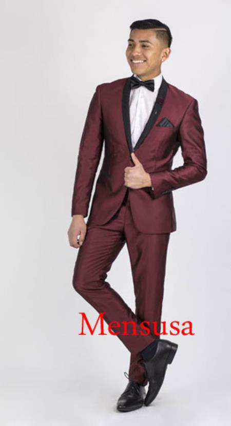 Mens Burgundy ~ Wine ~ Maroon Suit or Tuxedo Black Lapeled Dinner