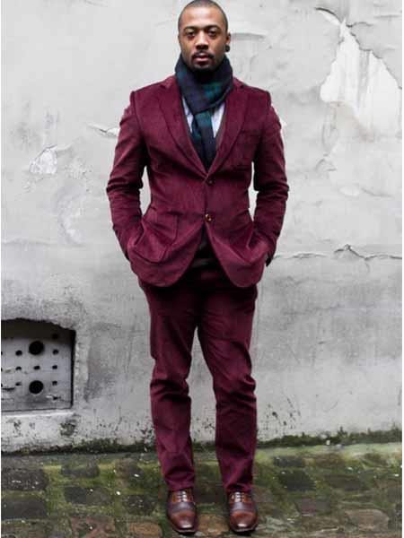 Mens CORDUROY SUIT ( Blazer Sportcoat + Slacks) Burgundy ~ Wine ~ Maroon Color