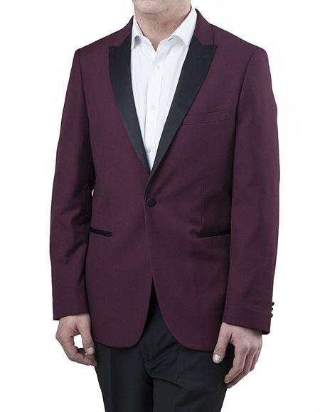 Mens Two Toned Peak Lapel Regular Fit Two Piece Burgundy ~ Wine ~ Maroon Color ~ Plum Tuxedo Suit Black Lapel Free Black Pants