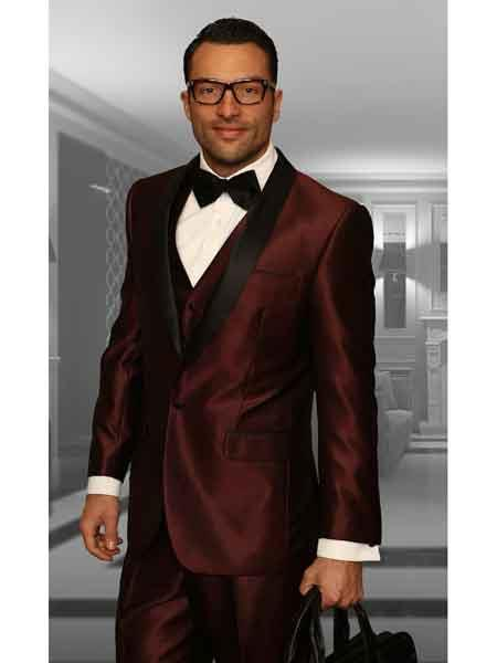 Black and Burgundy ~ Wine ~ Maroon Suit  Mens Shawl Lapel 3 Piece Statement Suits Clothing Confidence Modern Fit Vested Tuxedo Burgundy Suit