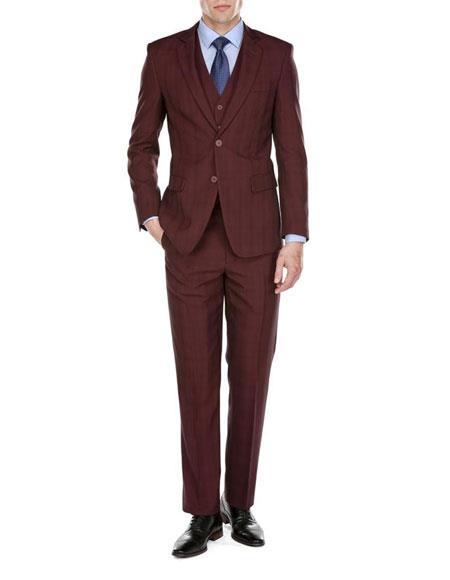 Buy CH522 Men's Two Button Burgundy Plaid Check Pattern Notch Lapel Three Piece Modern Fit Vested Suit