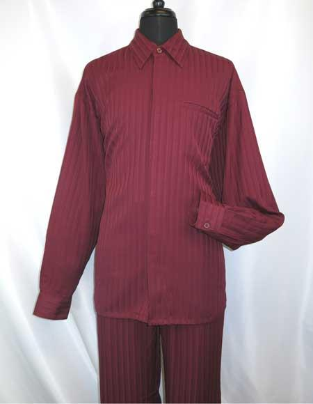 Mens Hidden Buttons Collared Long Sleeve Casual Two Piece Walking Outfit For Sale Pant Sets Shirt + Pant Set Burgundy ~ Wine ~ Maroon Color