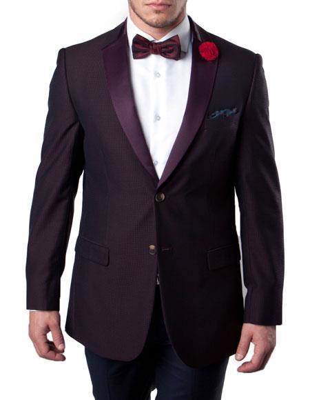 Buy KH70 Men's Burgundy ~ Wine ~ Maroon Color Slim Fit Tuxedo Jacket Split Shawl Lapel 100% Wool Blazer