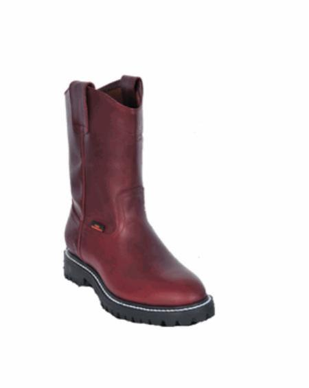 Grasso Nappa Los Altos Boots Men's Work Boot ~ Botines Para Hombre ~Full Lug Sole Burgundy ~ Wine Color ~ Maroon
