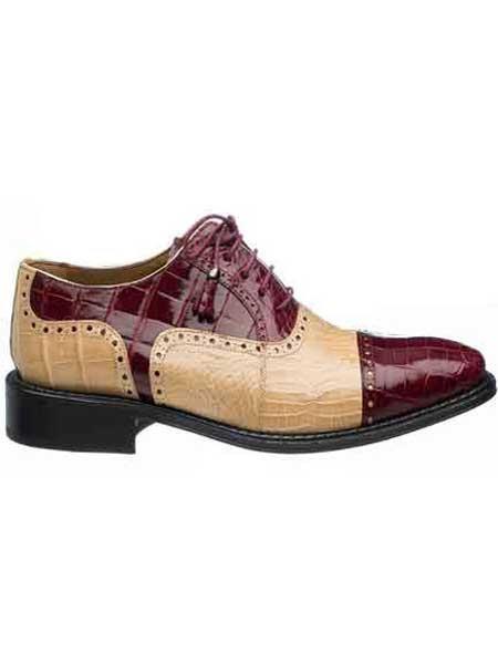 Ferrini Men's Real World Best Alligator ~ Gator Skin & Ostrich Quill Cap Toe Shoes Maroon Dress Shoe ~ Burgundy Dress Shoe ~ Wine Color Dress Shoe