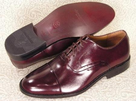 SKU# 65537 Mens Burgundy Oxford cap toe lace dress oxford features a soft calfskin leather upper $99