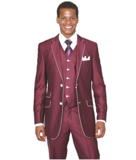 Slim Style Suit by Milano Moda Mens Burgundy ~ Wine ~ Maroon Suit  Shiny Flashy 3 Piece Burgundy Mens Sharkskin Suit