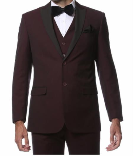 Mens Wine Maroon/Burgundy side vents and flat front style pants