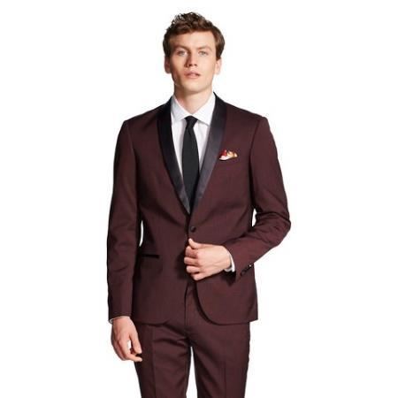 Mens Tuxedo Jacket Black and Burgundy ~ Wine ~ Maroon Suit