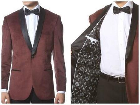 Velvet Blazer - Mens Velvet Jacket Velvet Shawl Collar Dinner Smoking , Slim Fit Burgundy ~ Wine ~ Maroon Suit