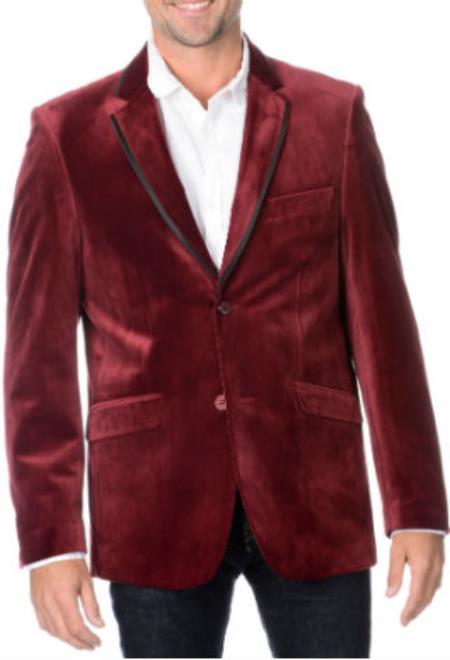 Mens Burgundy Tuxedo Velvet Dinner Jacket Blazer Sport coat With Black Trim Lapel
