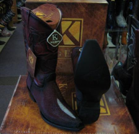 Buy MK945 Mens Genunie Stingray mantarraya skin King Exotic Snip Toe Western Cowboy Burgundy Boot