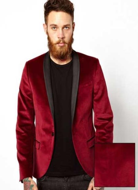 Mens Dinner Jacket Black and Burgundy ~ Wine ~ Maroon Suit & black Lapel Fashion Tuxedo For Men