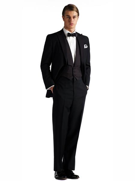 Gatsby Collection Tuxedo With Peaked Lapels Costumes Outfit Male Attire Flap Pockets And Patterned SB Vest